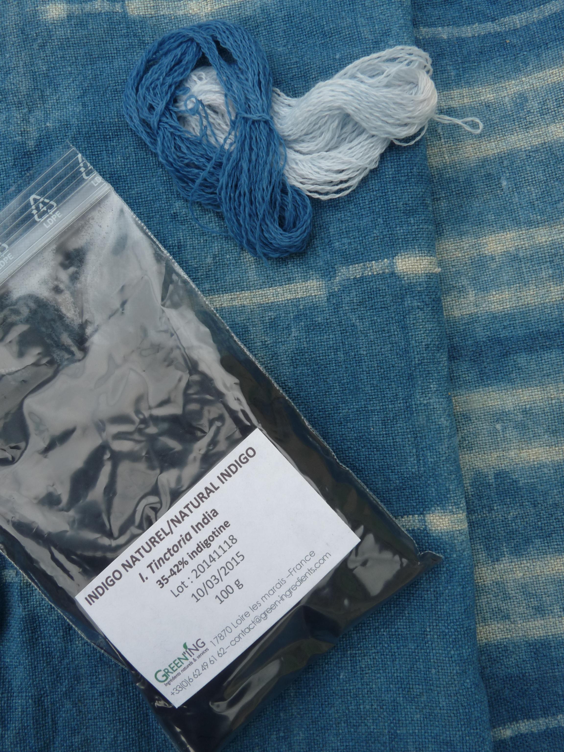 Teinture vegetale lin / laine - Indigo