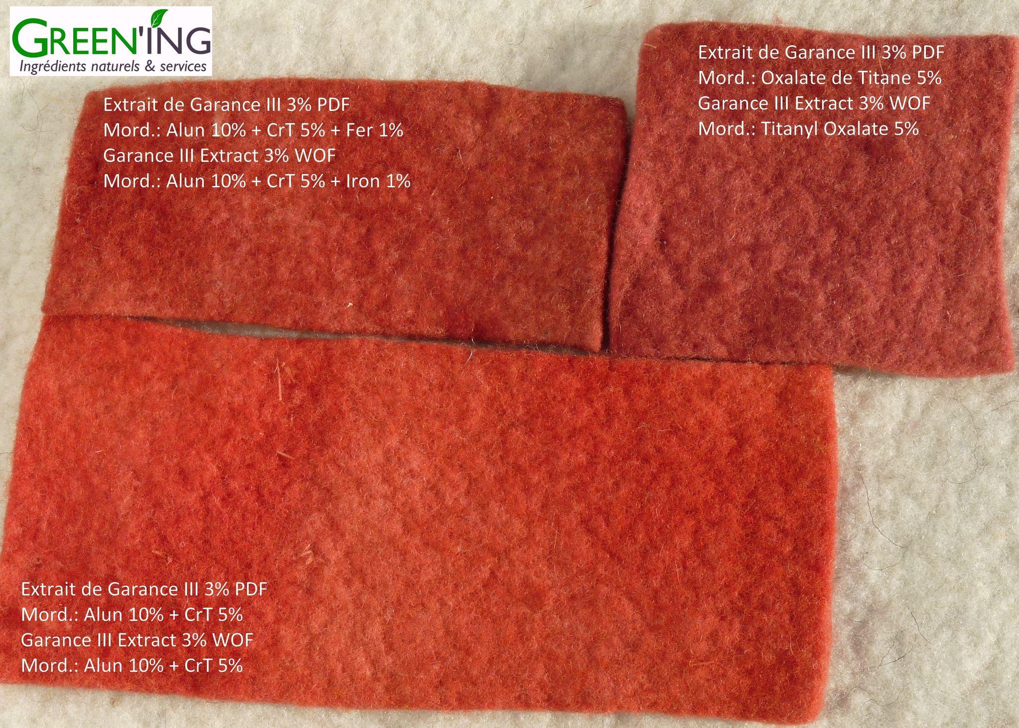 Teinture naturelle de Feutre de laine à l'extrait de Garance avec différents mordants