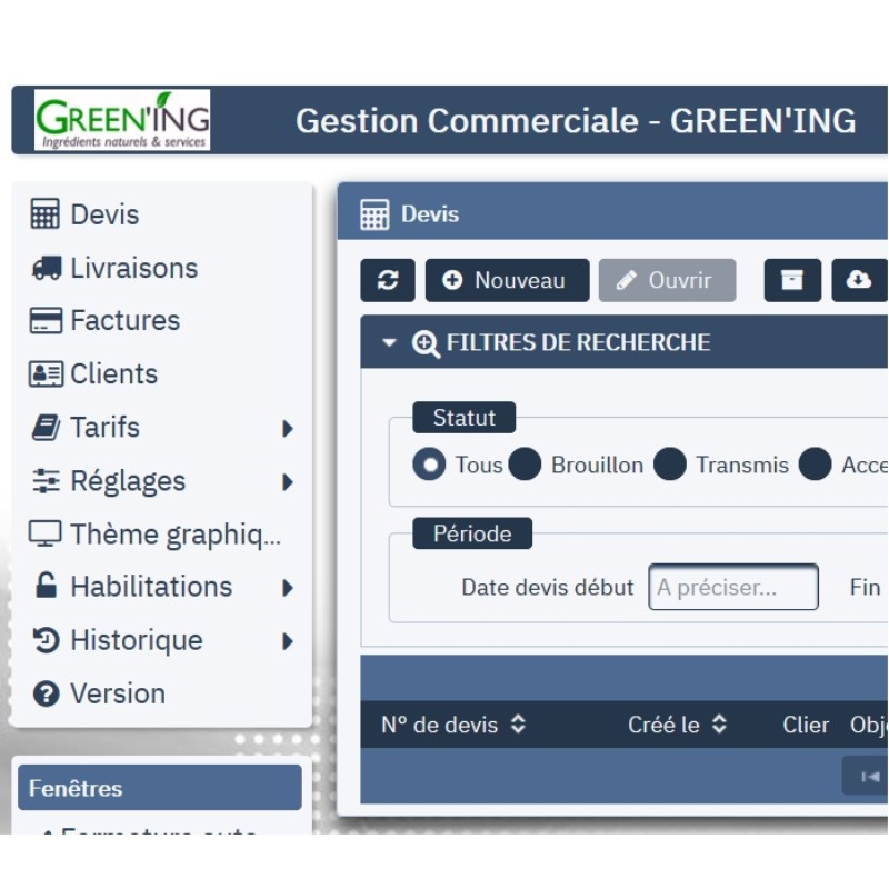 GREEN'ING - Gestion Commerciale - ©GREEN'ING